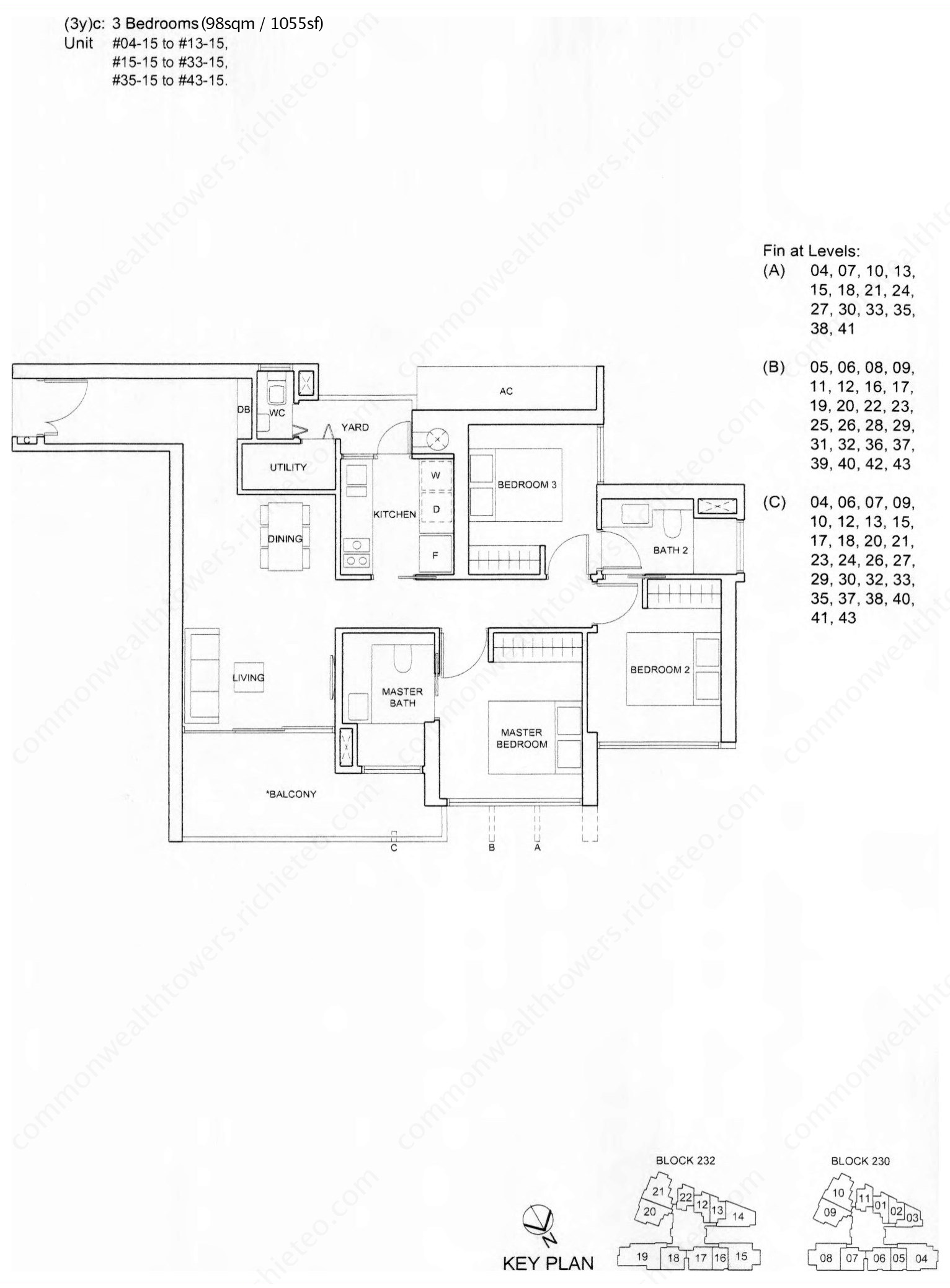 3 Bedroom Floor Plan Singapore Commonwealth Towers Condo