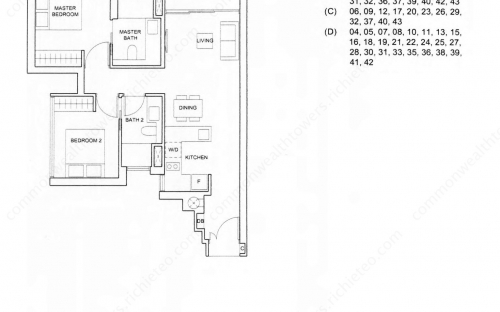 Commonwealth Tower Condominium Type (2)f - 2 Bedroom